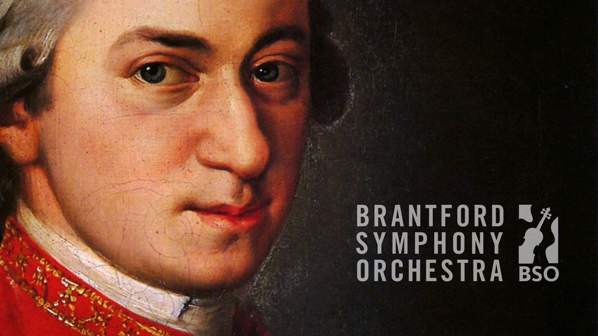 A close-up showing Mozart's face with the Brantford Symphony logo appended to the right