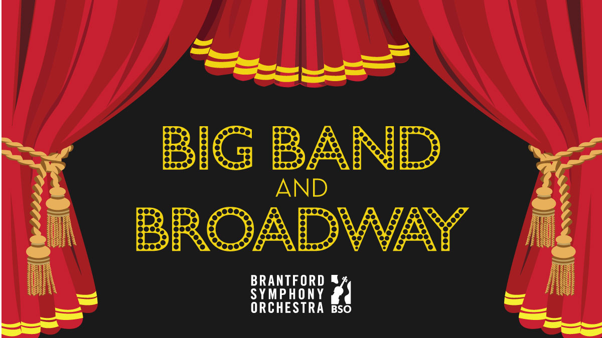 An illustration of a stage with red curtains open and the title Big Band and Broadway