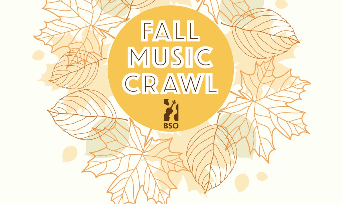 Graphic image shows leaves in fall colours and the text Fall Music Crawl